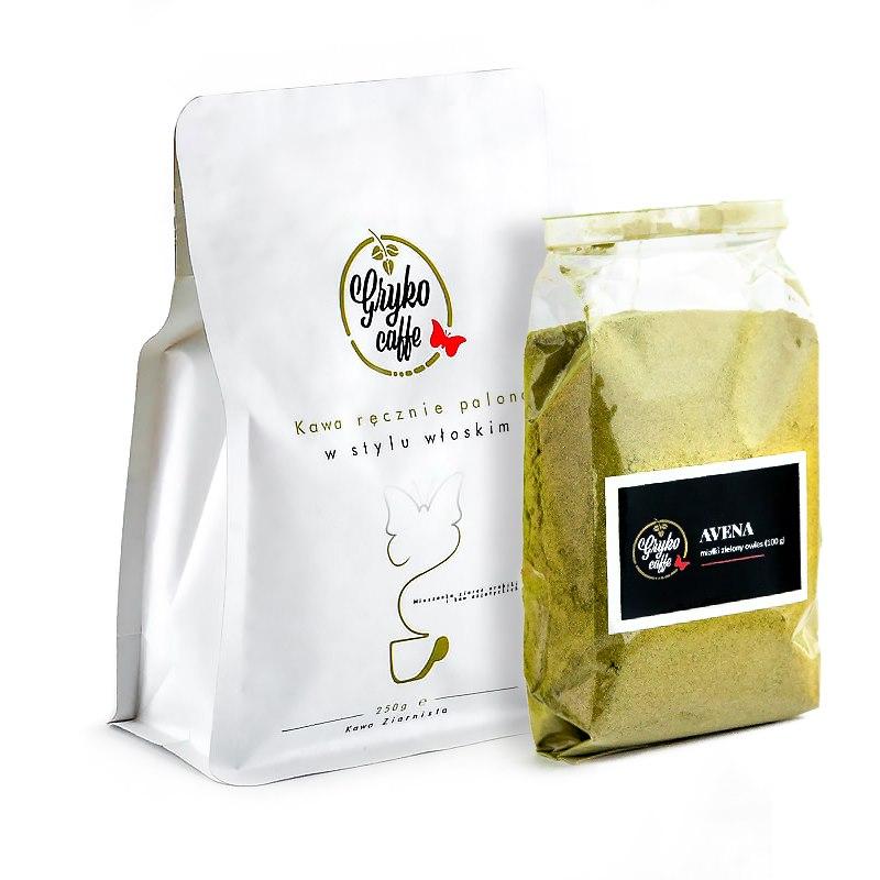 Zestaw startowy kawa 250g + miałki zielony owies 100g